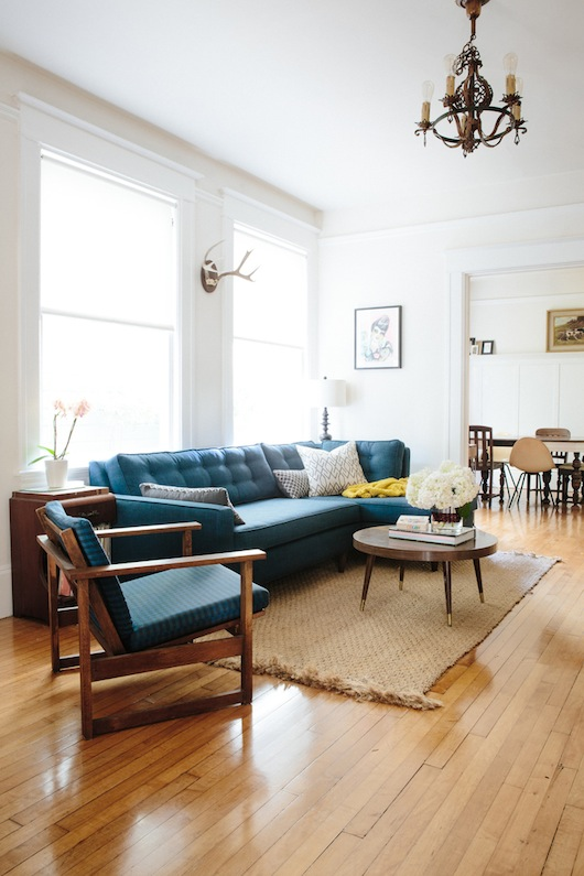 Living room. Home of Kate Davison + Jesse Hayes via This is Brick + Mortar. Photo by Colin Price.