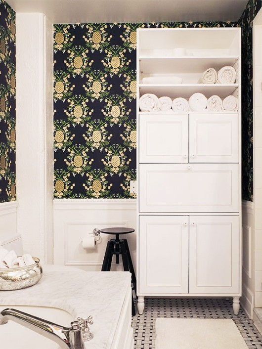 Bathroom reno by Manhattan Nest | Rifle Paper Co. Pineapple Wallpaper