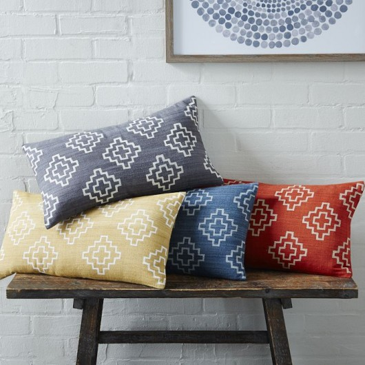 West Elm | Hand Blocked Stepped Diamond Pillow Cover