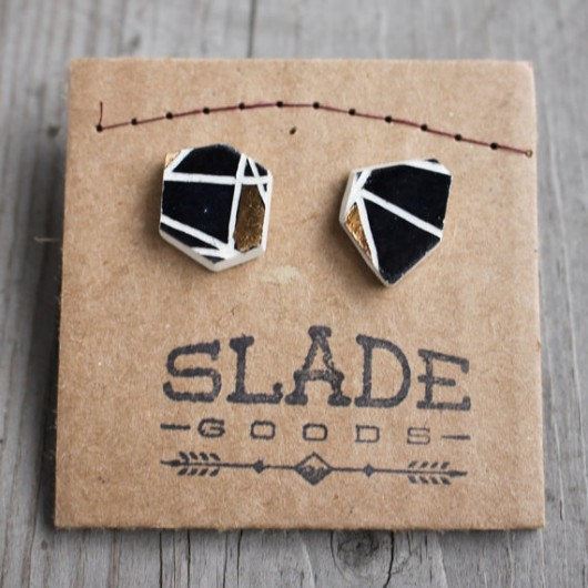 Geometric ceramic stud earrings by Slade Goods